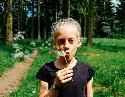 girl blowing a dandelionadjusted